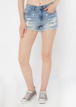 light wash super high-waisted frayed hem shorts - Main Image