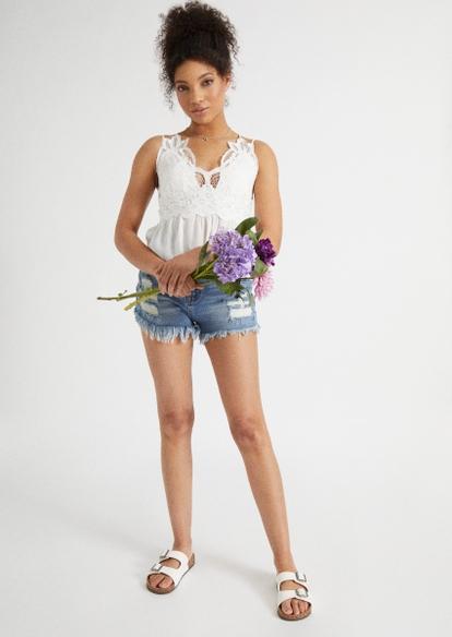 medium wash super high rise frayed jean shorts - Main Image
