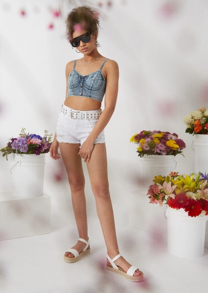 white super high waist frayed hem jean shorts - Main Image