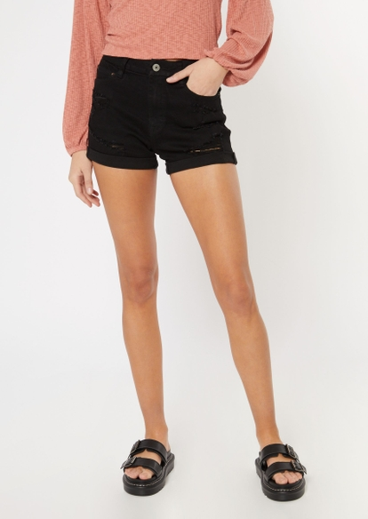 black ripped ultimate stretch curvy jean shorts - Main Image