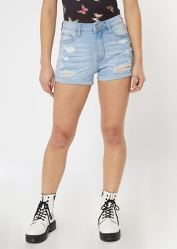ultimate stretch medium wash distressed curvy jean shorts - Main Image