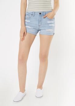 light wash distressed high waisted denim shorts - Main Image
