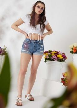 medium wash distressed high waisted denim shorts - Main Image