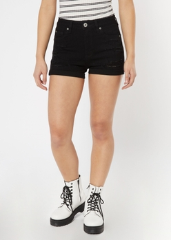 ultimate stretch black distressed jean shorts - Main Image