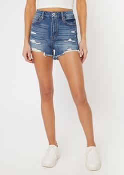 dark wash ripped ultimate stretch curvy jean shorts - Main Image