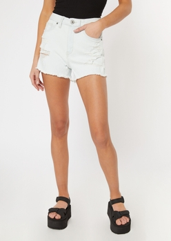 white ripped ultimate stretch curvy jean shorts - Main Image