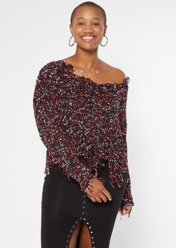 black confetti knit distressed sweater - Main Image