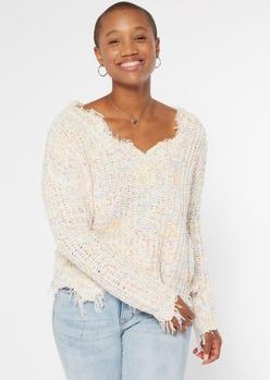 cream confetti knit distressed sweater - Main Image