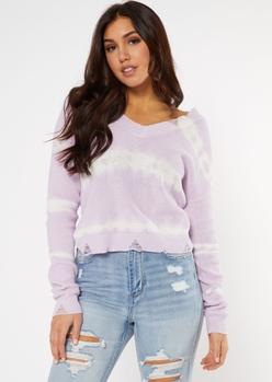 lavender tie dye distressed sweater - Main Image