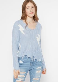 white lightning bolt print distressed sweater - Main Image