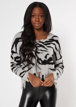 gray zebra print destructed cropped sweater - Main Image