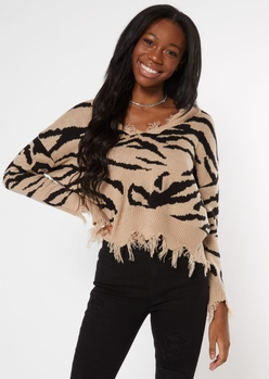 taupe zebra print destructed cropped sweater - Main Image