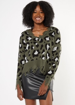 gray leopard print destructed cropped sweater - Main Image