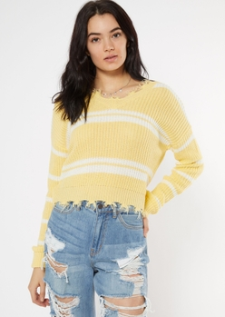 yellow distressed striped sweater - Main Image