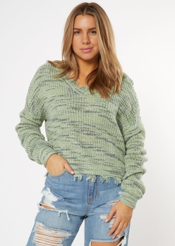 sage green space dye destructed sweater - Main Image