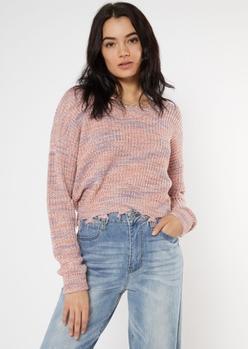 mauve space dye destructed sweater - Main Image