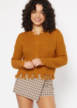 mustard cable knit destructed hem sweater - Main Image