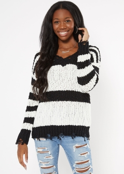 black striped distressed textured knit sweater - Main Image