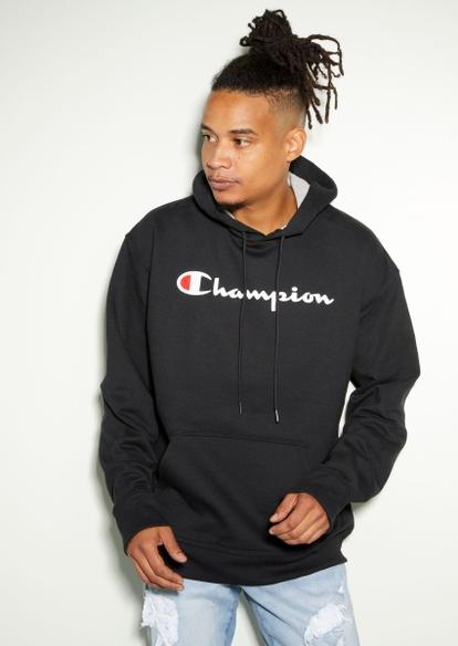 champion black script hoodie - Main Image