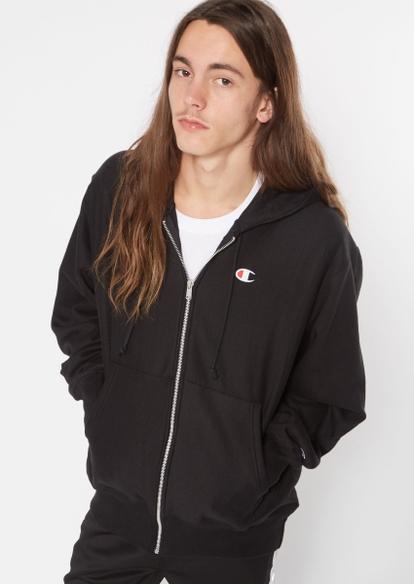 champion black logo embroidered zip hoodie - Main Image