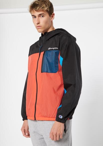 champion orange colorblock front zip windbreaker - Main Image