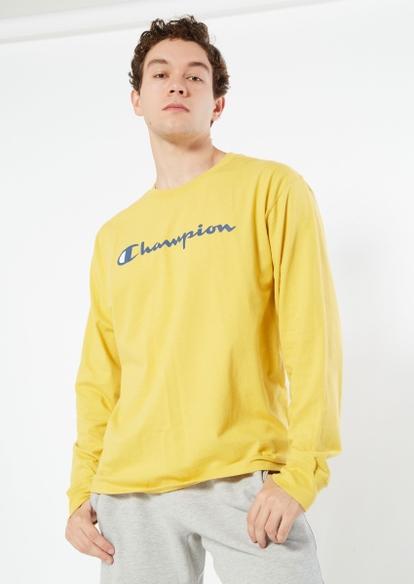 champion logo yellow long sleeve tee - Main Image