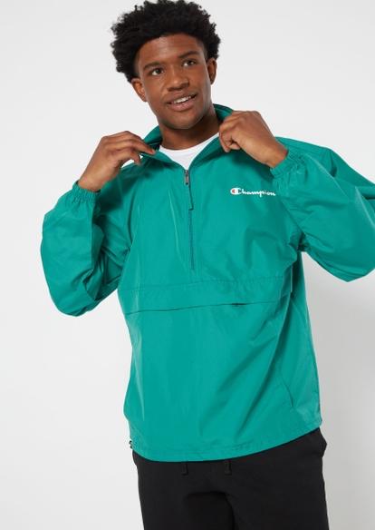 champion green quarter zip packable windbreaker - Main Image