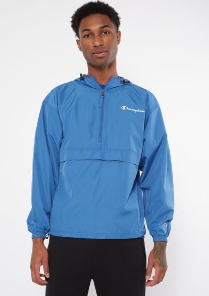 champion blue quarter zip packable windbreaker - Main Image