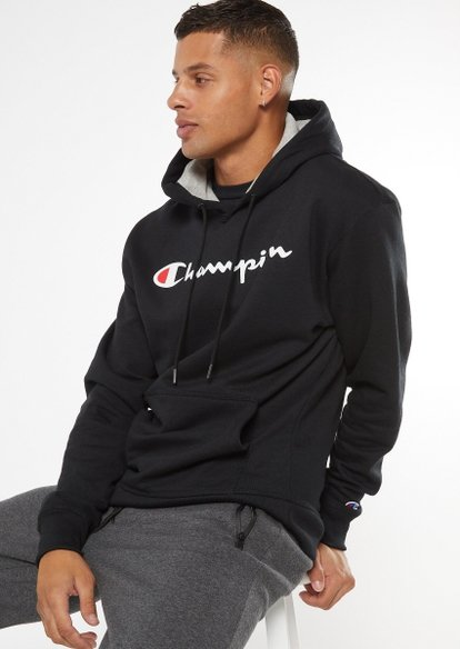 champion black scripted graphic hoodie - Main Image