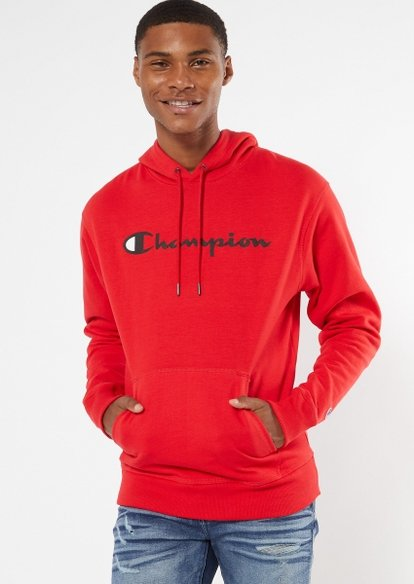 champion red scripted graphic hoodie - Main Image