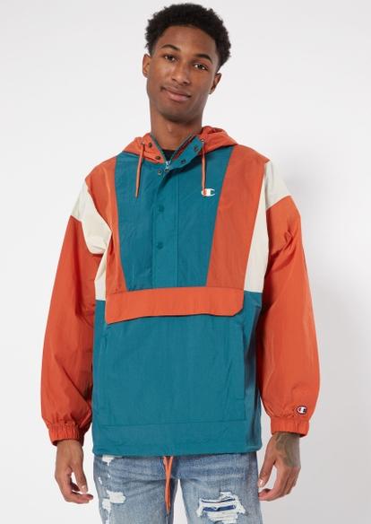 champion orange colorblock anorak jacket - Main Image