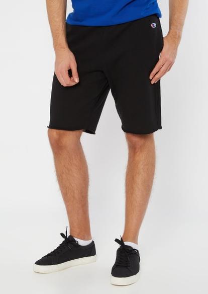 champion black raw cut knit shorts - Main Image