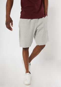champion heather gray raw cut knit shorts - Main Image