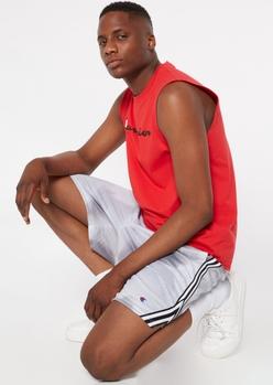 champion gray tie dye striped side mesh shorts - Main Image