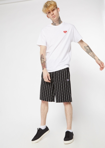 champion black vertical stripe knit shorts - Main Image