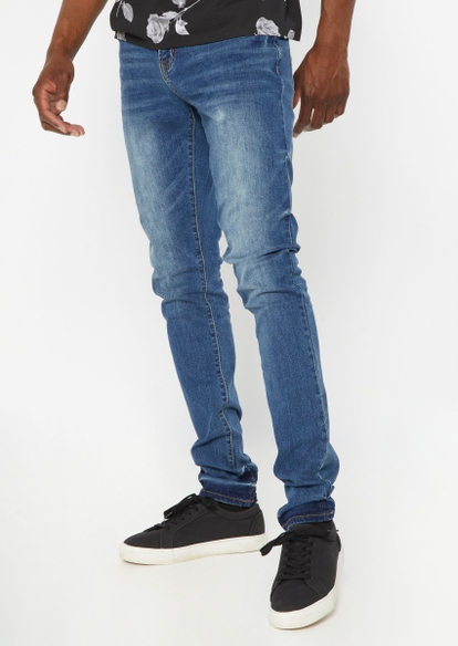 dark wash faded leg stacked skinny jeans - Main Image