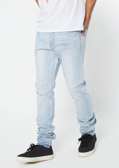 light wash stacked skinny jeans - Main Image