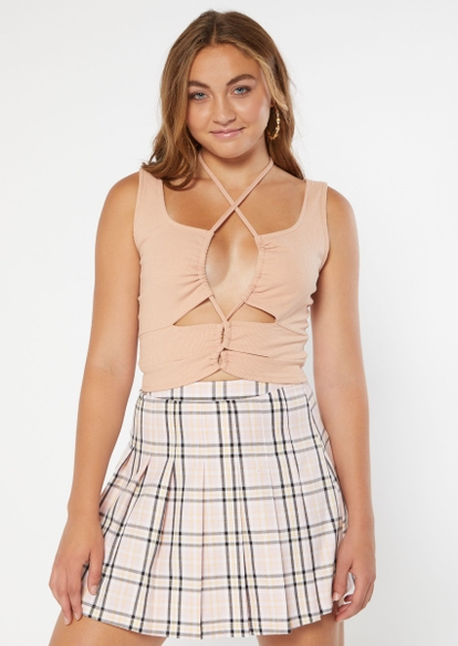 taupe cutout lace up front tank - Main Image