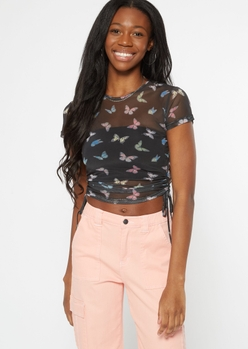 black butterfly print mesh ruched top - Main Image