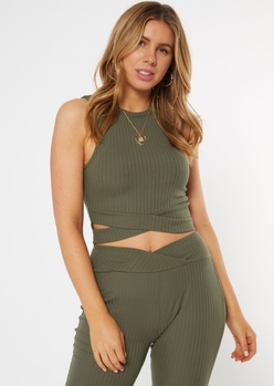 olive ribbed crisscross cut out tank top - Main Image