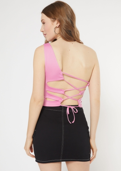 pink one shoulder cropped tank top - Main Image