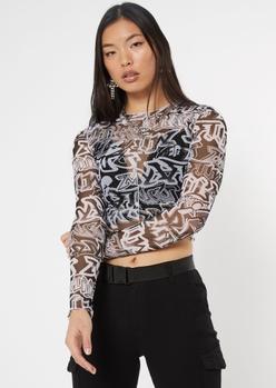 black graffiti long sleeve mesh top - Main Image