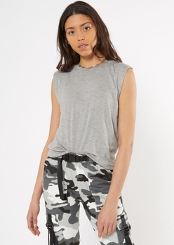 heather gray shoulder pad muscle tee - Main Image