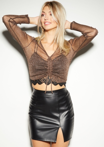 glitter mesh drawstring ruched front long sleeve top - Main Image