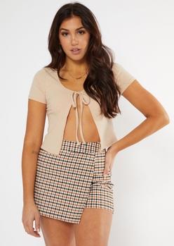 beige tie front short sleeve cardigan - Main Image
