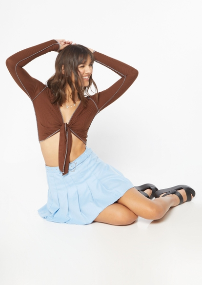 brown contrast stitch long sleeve tie front top - Main Image