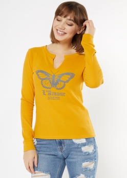 mustard butterfly l'amour graphic thermal top - Main Image