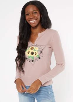 pink celestial sunflower print notched thermal top - Main Image