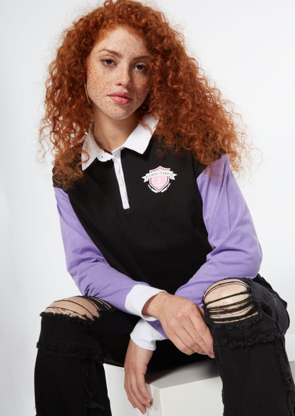 purple colorblock vibes crest graphic long sleeve crop polo - Main Image