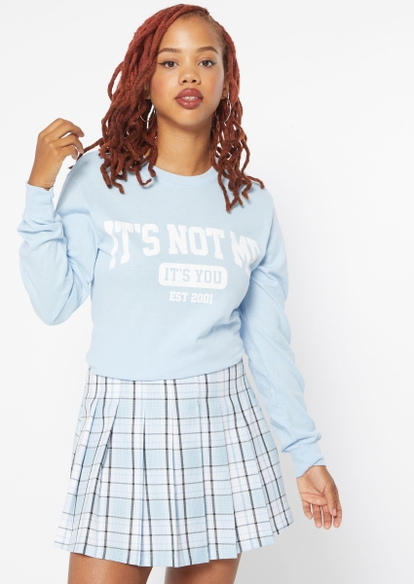 light blue it's not me graphic fleece pullover - Main Image